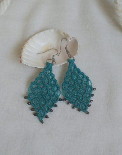 big blue macrame earrings. artisan. big handmade earrings