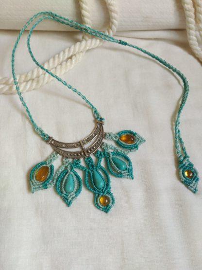 howlite turquoise amber handmade macrame necklace boho jewelry unique creation