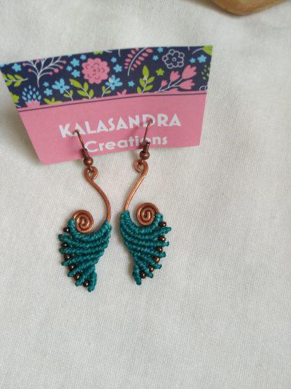 Blue handmade macrame earrings in copper design. Artisan jewelry. Bohochick. Celtic jewelry