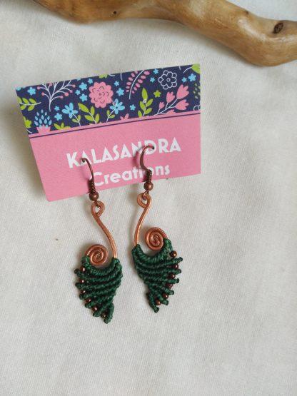 green handmade macrame earrings in copper design. Bohochick. Celtic jewelry. Bohemian jewelry