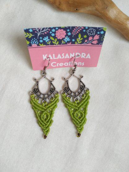Green Pistachio macrame earrings in antique silver tone metal design. Boho Earrings. Celtic earrings