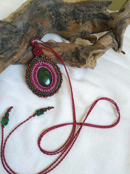 jade gemstone unique handmade macrame necklace adjustable