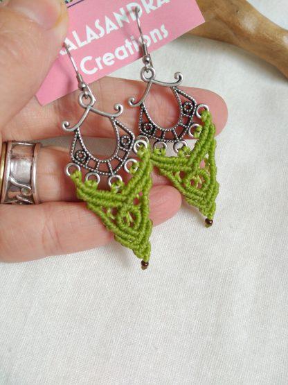 green pistachio macrame earrings. Celtic jewelry. Boho earrings. Bohochick. Artisan jewelry. Handmade with joy