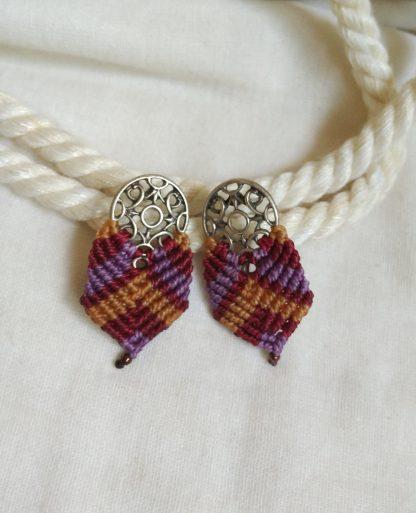 earthy colours macrame earrings. handmade. boho earrings. artisan jewelry. unique earrings