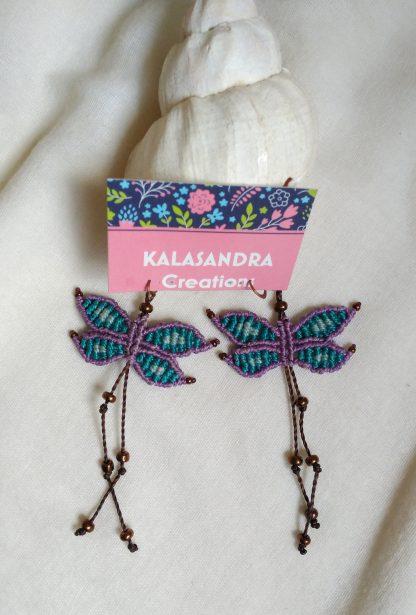 beautiful butterfly macrame earrings. Butterfly earrings. Artisan earrings. handmade. Spiritual jewelry. Boho earrings. Archetypal jewelry