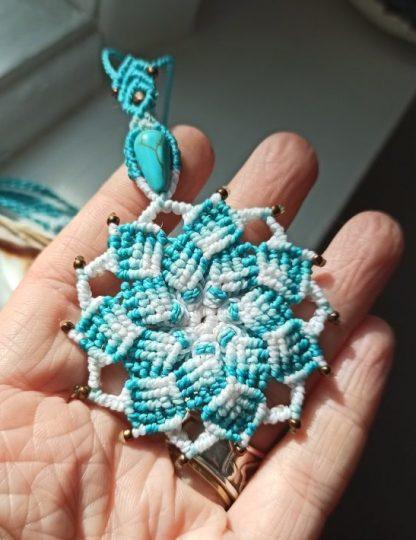 Blue Turquoise Mandala Necklace- LIGHT. Handmade mandala. Blue mandala. Artisan jewelry. Spiritual jewelry.