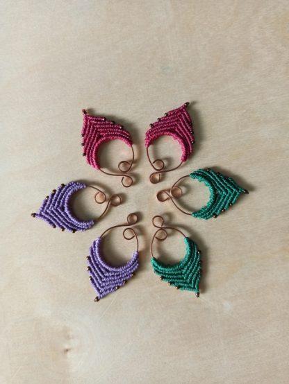 beautiful handmade macrame earrings. kalasandra earrings. artisan earrings. bohochick.