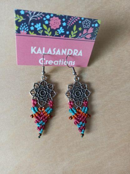 mandala earrings. handmade macrame earrings. Bohochick. Mandala earrings. Artisan jewelry