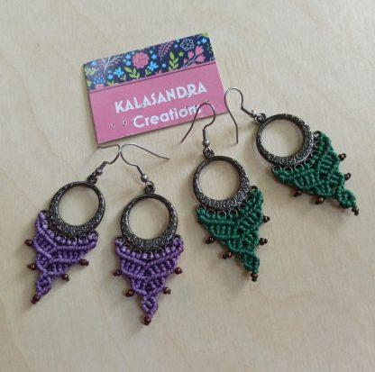 original everyday macrame earrings. Unique handmade macrame earrings. Boho earrings. Artisan jewelry.