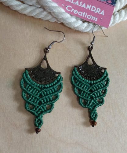 Green big macrame earrings