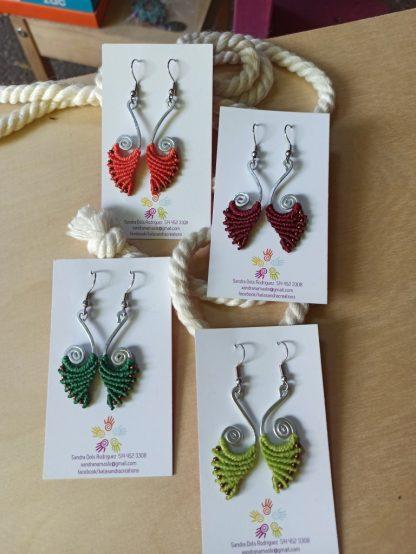 Aluminum spiral earrings. Kalasandra Macrame earrings. Bohochick. Bohemian earrings. Artisan jewelry