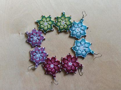 handmade mandala macrame earrings. artisan jewelry. boho earrings. mandala earrings