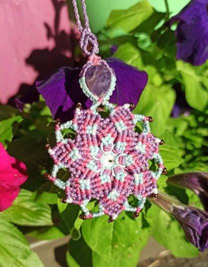 purple amethyst mandala necklace. Macrame necklace. Mandala necklace. Amethyst necklace. Gemstone. Artisan jewelry. Boho necklace. Bohemian jewelry