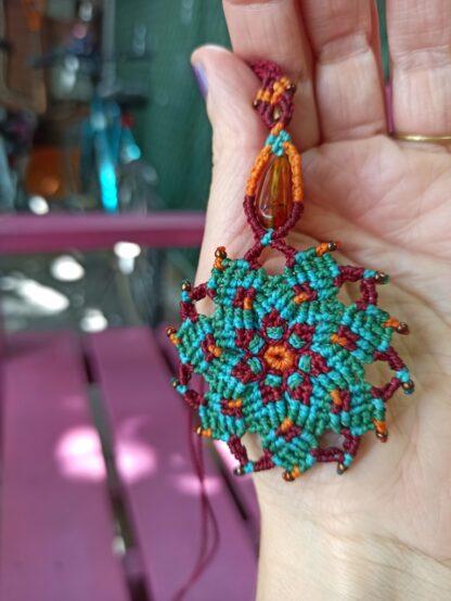 amber mandala macrame necklace. amber necklace. handmade. One-of-a-kind. Artisan necklace. Bohemian jewelry. Spiritual jewelry