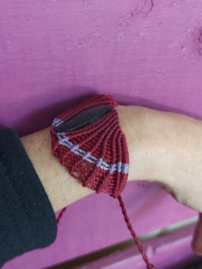 Obsidian Red Macrame Bracelet. Obsidian bracelet. macrame bracelet. Handmade. One-of-a-kind bracelet. Gemstone bracelet.Red bracelet. Artisan jewelry. Boho. Bohemian jewelry