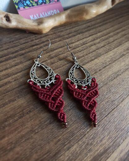 red boho macrame earrings. kalasandra earrings