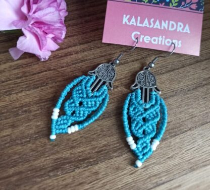 fatimas hands blue earrings. macrame earrings. Blue earrings. kalasandra earrings. handmade, artisan jewelry. Boho earrings. Bohemian