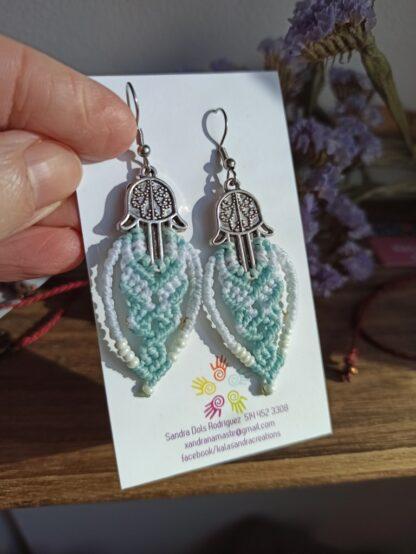 Fatima's hands pale blue macrame earrings. Handmade. Artisan jewelry. Boho earrings.