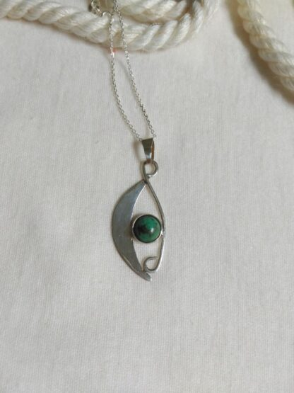 Sterling Silver chrisocolla pendant. Silver jewelry, Handmade. Artsan jewelry