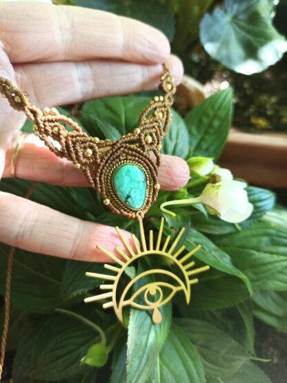 turquoise macrame necklace with brass metal design. Kalasandra creations. handmade. artisan jewelry, Spiritual jewelry. Celtic jewelry