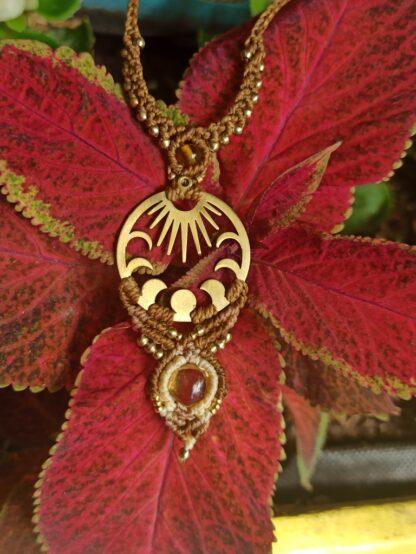 amber macrame necklace. kalasandra creation. boho. spiritual jewelry. artisan