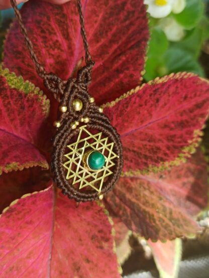 malachite macrame necklace, artisan, unique, boho, sacred geometry, yoga, goddess