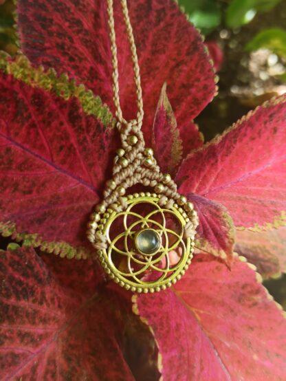 circle of life- labradorite macrame necklace, artisan jewelry, handmade, unique, boho