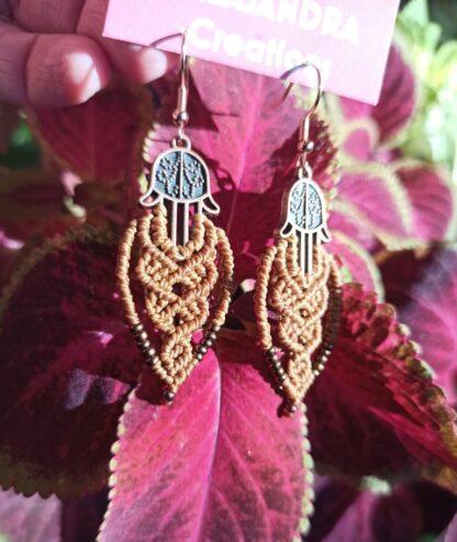 Fatima's hands brown macrame earrings. Handmade. Artisan. Bohemian. Original